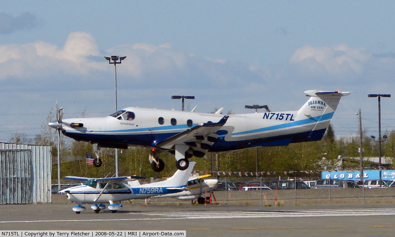 N715TL, 2004 Pilatus PC-12/45 C/N 548, Pilatus doing touch and gos at Merrill Field, Anchorage