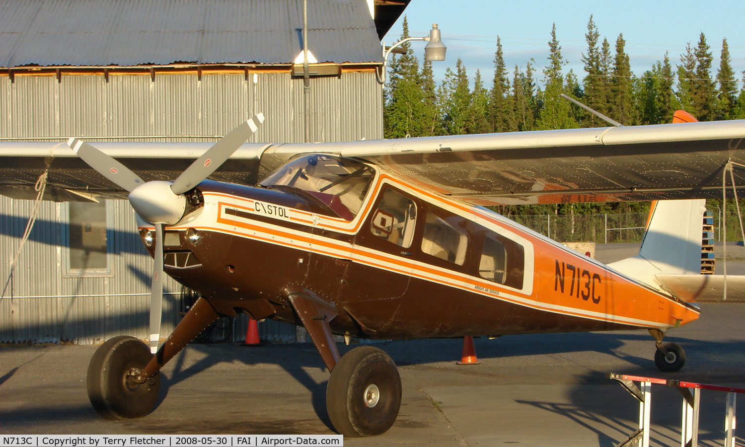 N713C, 1970 Helio H-295-1400 Super Courier C/N 1438, Helio H-295 of Wright Air services on Fairbanks East ramp