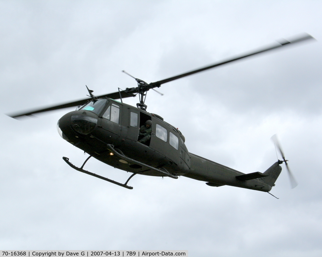 70-16368, 1970 Bell UH-1V Iroquois C/N 12673, Approaching Ellington, CT on a training flight