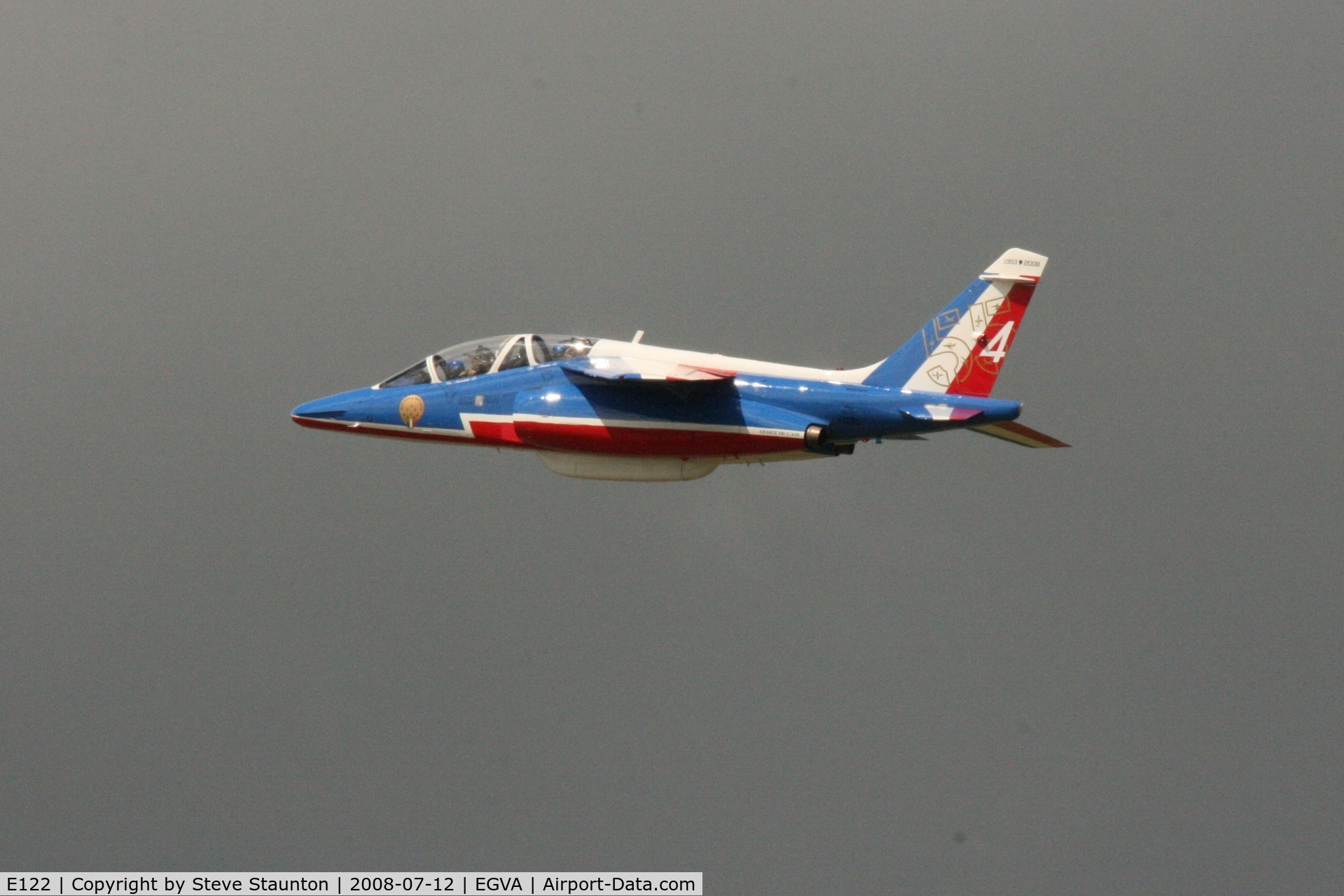 E122, Dassault-Dornier Alpha Jet E C/N E122, Taken at the Royal International Air Tattoo 2008 during arrivals and departures (show days cancelled due to bad weather)