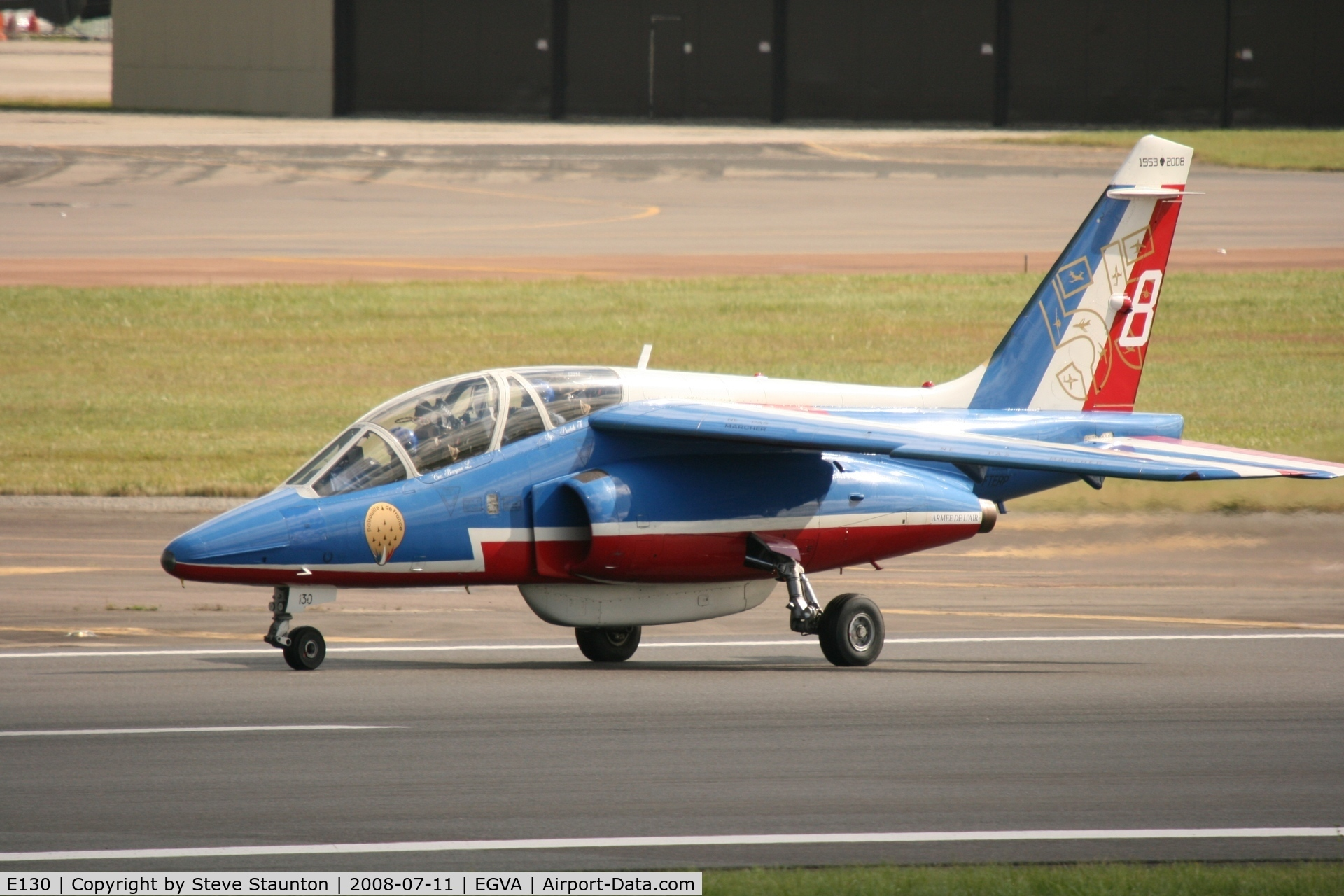 E130, Dassault-Dornier Alpha Jet E C/N E130, Taken at the Royal International Air Tattoo 2008 during arrivals and departures (show days cancelled due to bad weather)