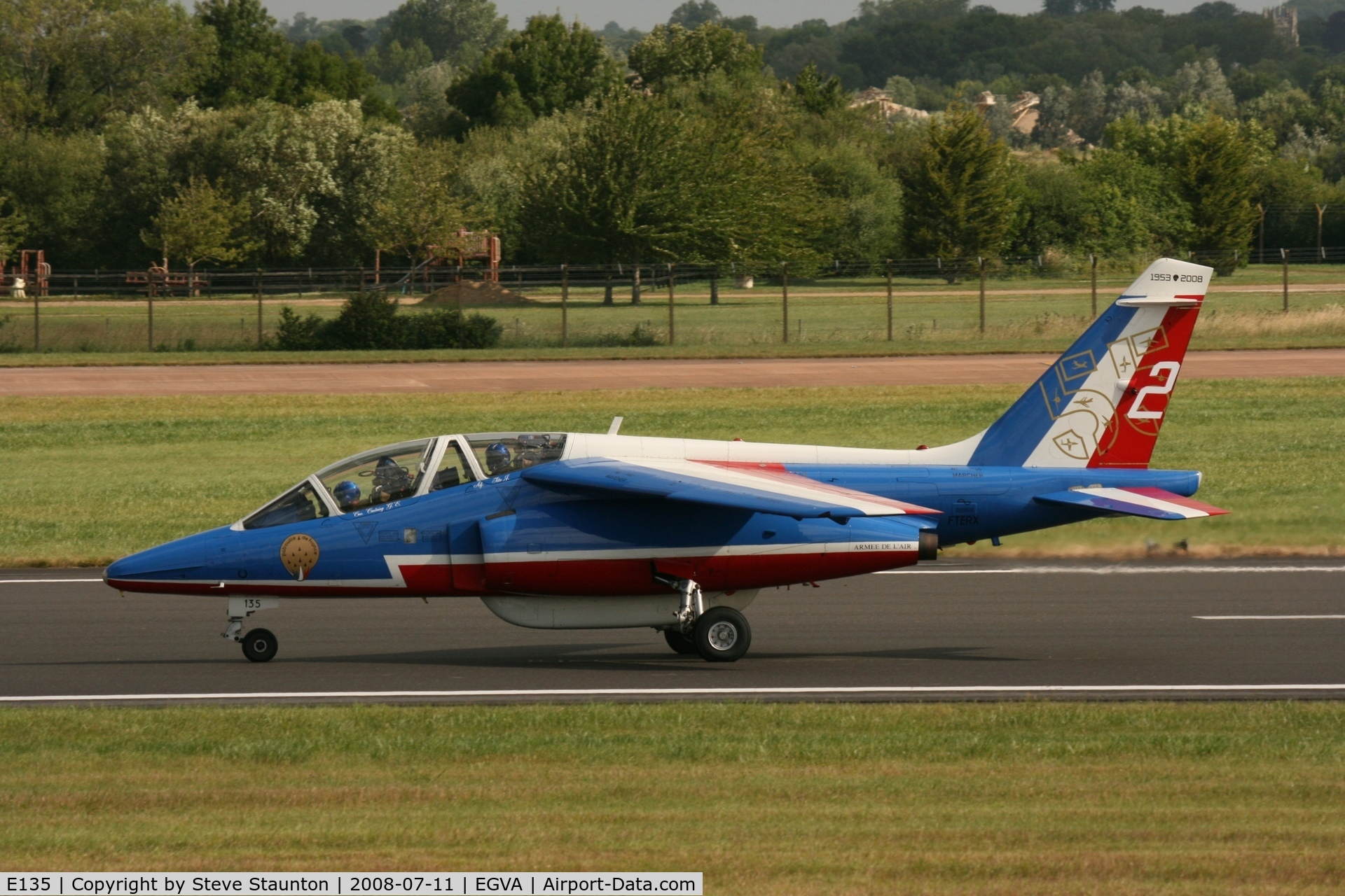E135, Dassault-Dornier Alpha Jet E C/N E135, Taken at the Royal International Air Tattoo 2008 during arrivals and departures (show days cancelled due to bad weather)