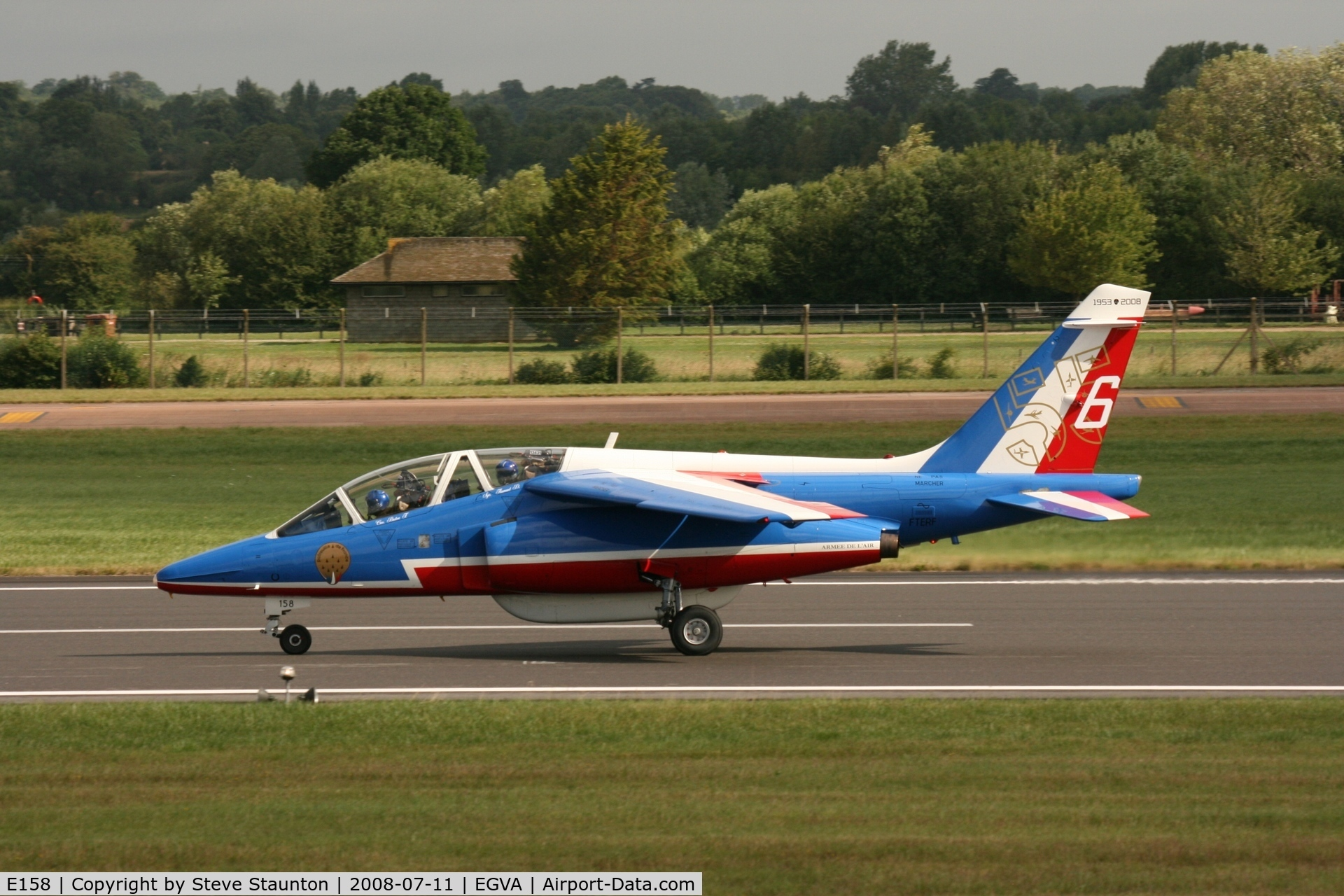 E158, Dassault-Dornier Alpha Jet E C/N E158, Taken at the Royal International Air Tattoo 2008 during arrivals and departures (show days cancelled due to bad weather)