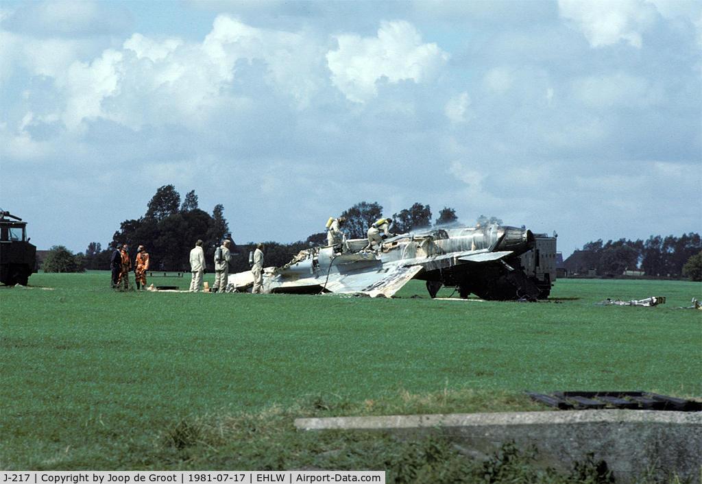 J-217, 1979 Fokker F-16A Fighting Falcon C/N 6D-6, This F-16 encoutered problems during fight. After landing the pilot decided to eject while on the runway. This is the result of the first ever zero altitude ejection.