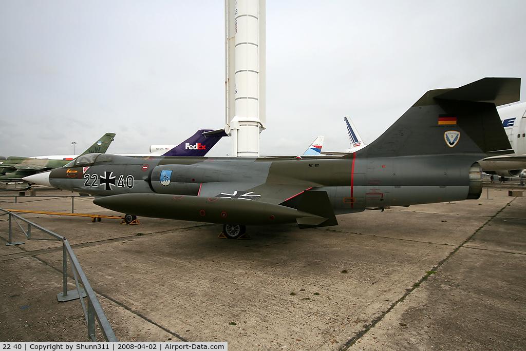 22 40, Lockheed F-104G Starfighter C/N 683-7118, S/n 7118 - Preserved in Le Bourget Museum