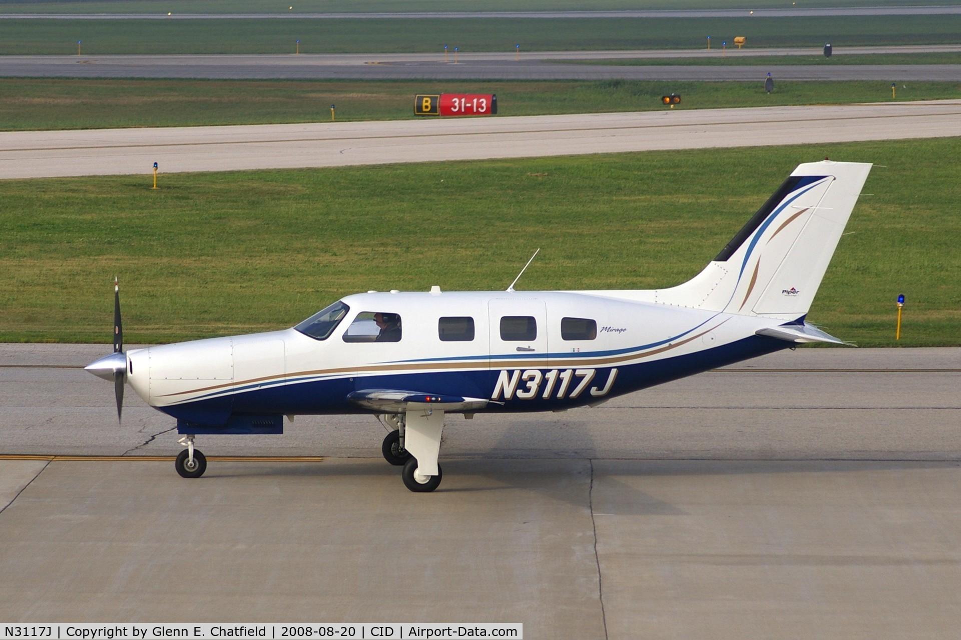 N3117J, 2005 Piper PA-46-350P Malibu Mirage C/N 4636366, Taxiing to Runway 27 for departure.