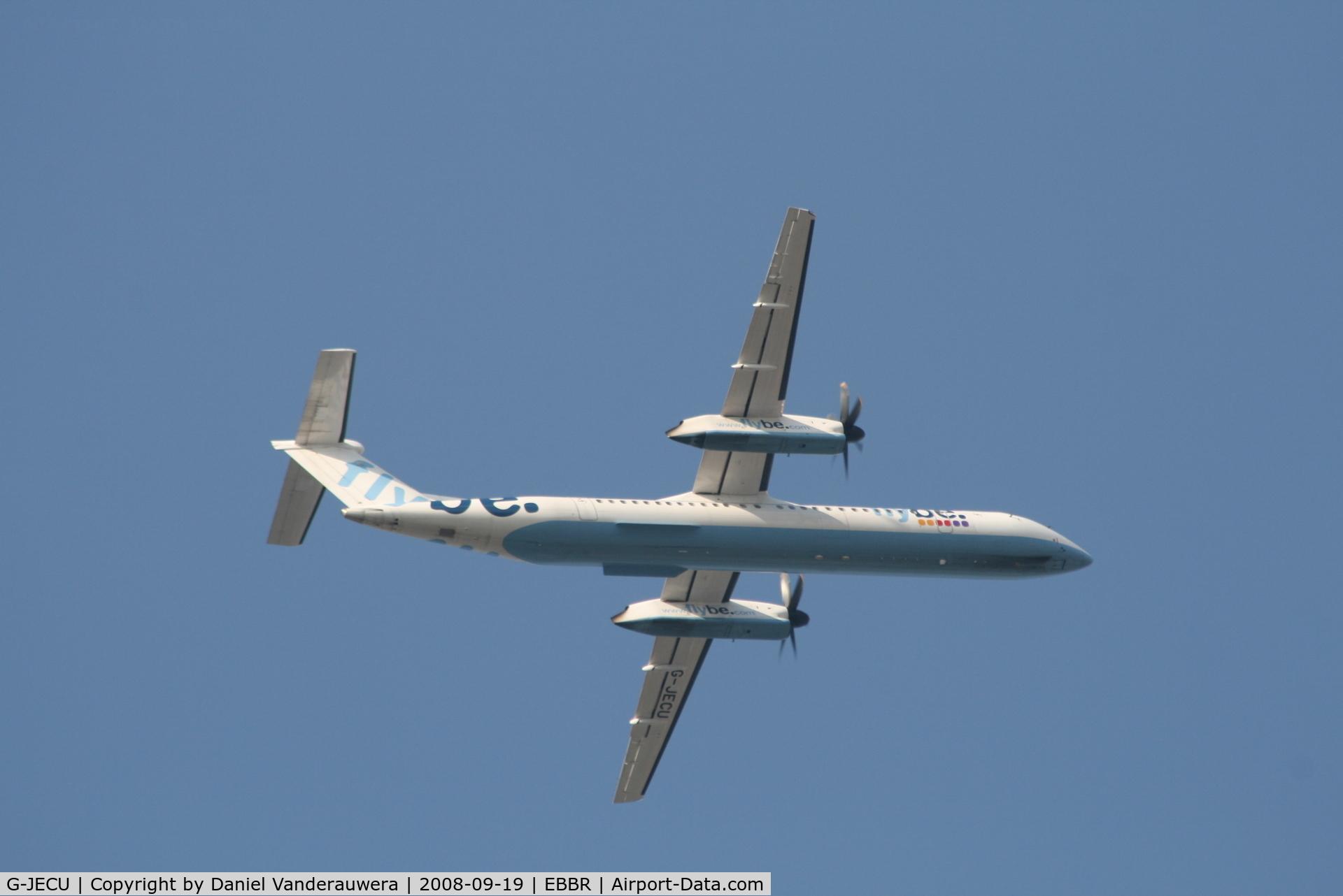 G-JECU, 2006 De Havilland Canada DHC-8-402Q Dash 8 C/N 4146, on approach to rwy 07L