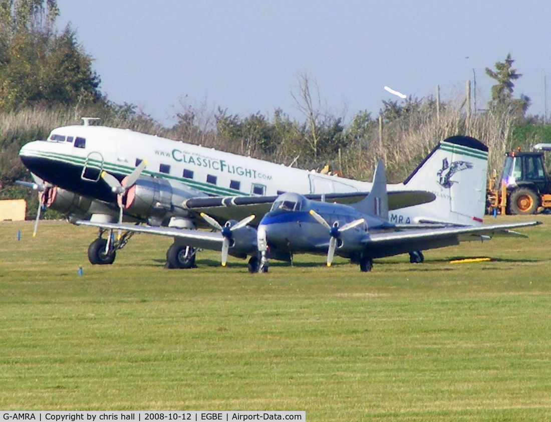G-AMRA, 1944 Douglas DC-3C-R-1830-90C C/N 15290/26735, AIR ATLANTIQUE, with DH104 DOVE 8 :G-DHDV in the foreground