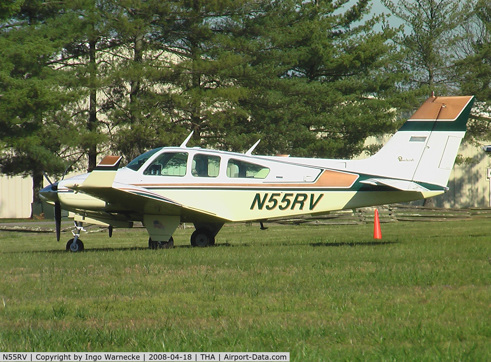 N55RV, 1975 Beech 95-B55 (T42A) C/N TC-1828, in front of the Beechcraft Heritage Museum