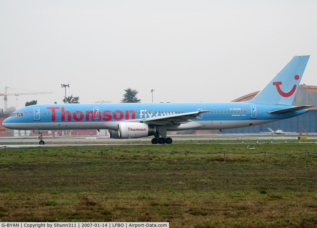 G-BYAN, 1994 Boeing 757-204 C/N 27219, Lining up rwy 32R for departure...