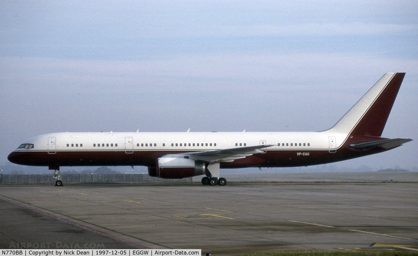 N770BB, 1991 Boeing 757-2J4 C/N 25220, EGGW (Seen here as VP-CAU now registered N770BB as posted)