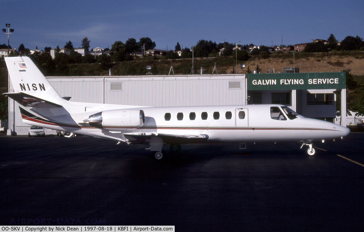 OO-SKV, 1996 Cessna 560 Citation V C/N 560-0153, KBFI (N1SN seen here prior to becoming OO-SKV and posted as the latter for C/N accuracy)