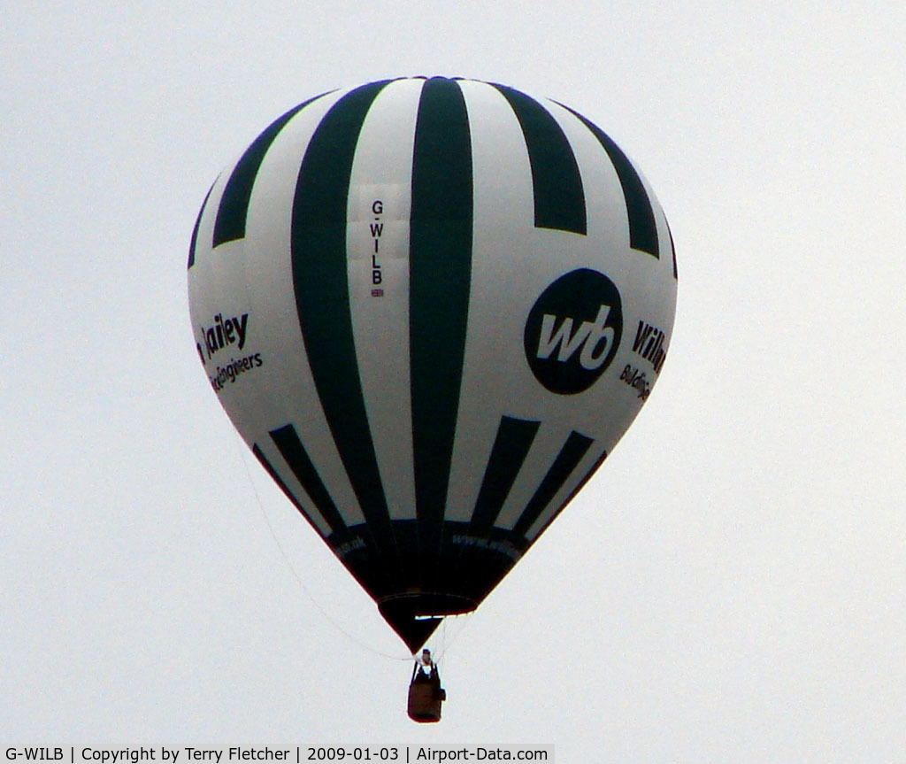 G-WILB, 2008 UltraMagic M-105 C/N 105/161, First photo of 2009 as this Balloon passed over my house in Derbyshire UK