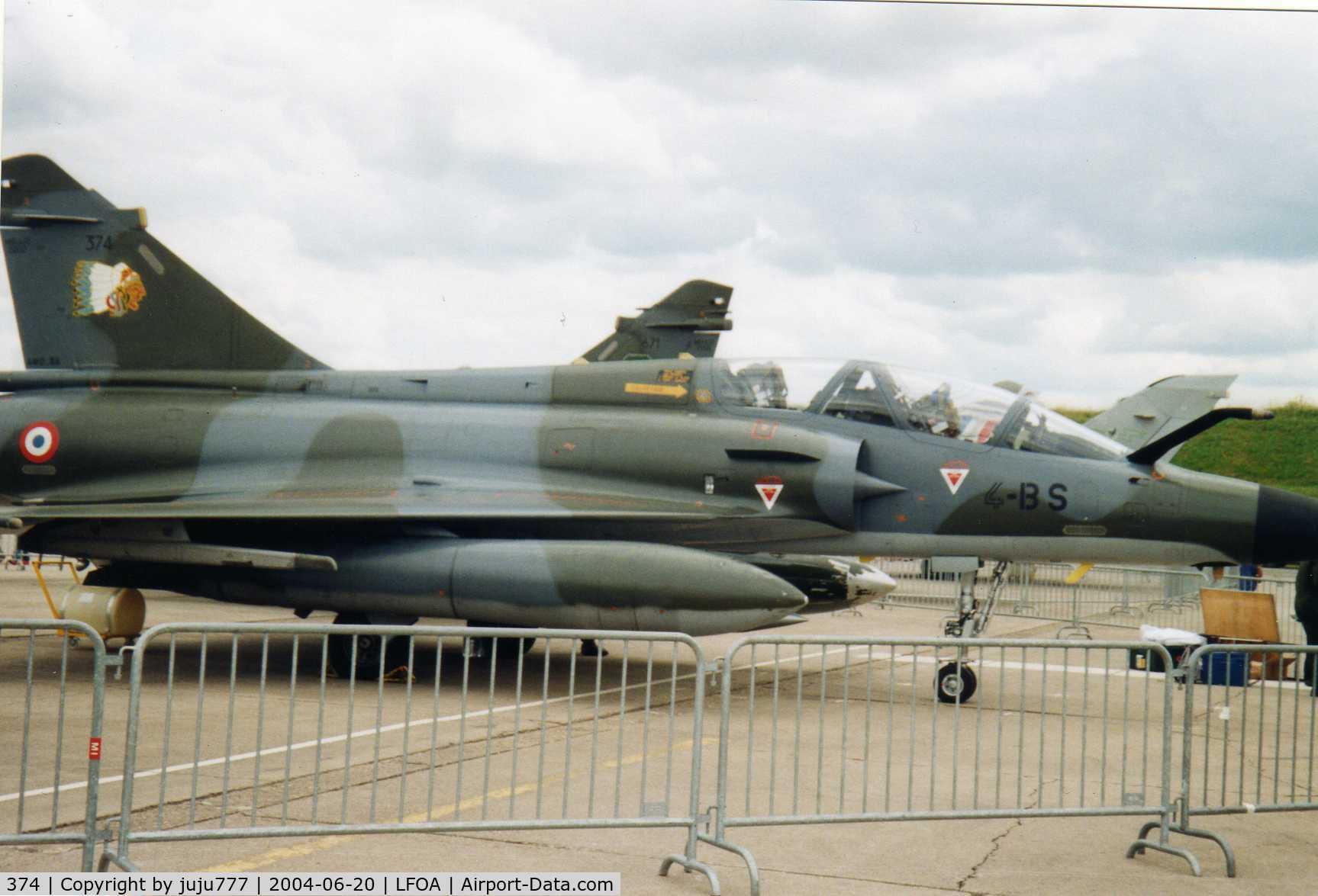 374, Dassault Mirage 2000N C/N 5502, on display at Avord