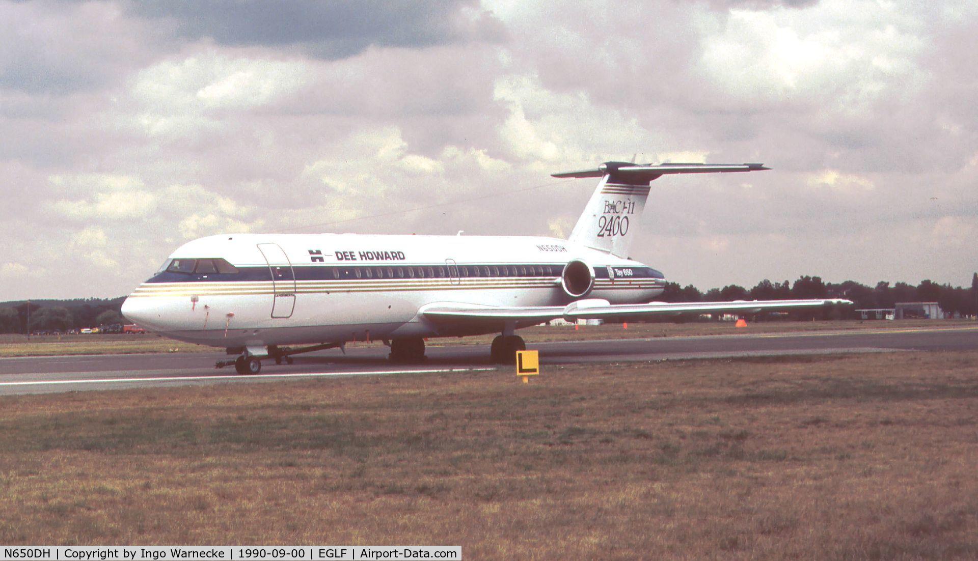 N650DH, 1966 BAC 111-401AK One-Eleven C/N BAC.059, BAC / Dee Howard BAC 1-11 2400 with R-R Tay 650 engines at Farnborough International 1990