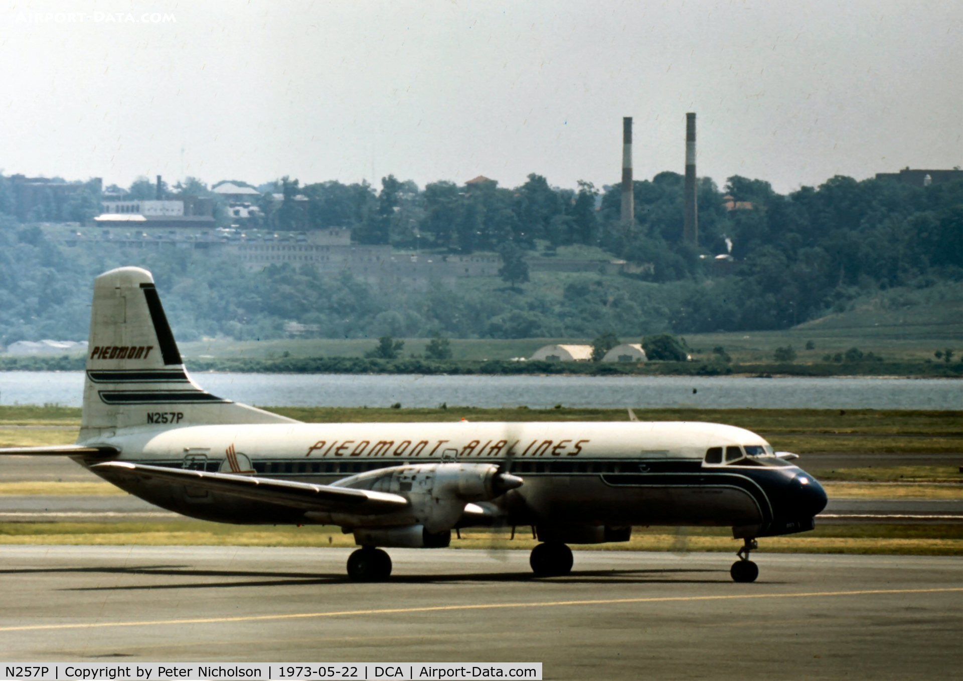 N257P, Nihon YS-11A-500 C/N 2118, Operated by Piedmont Airlines and named Santee Pacemaker - seen taxying at Washington National in the summer of 1973.