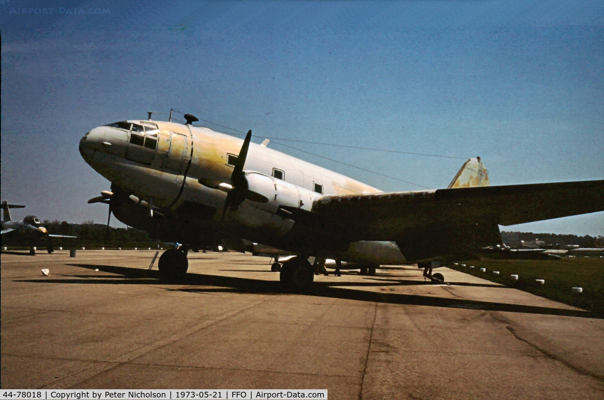 44-78018, 1944 Curtiss C-46D Commando C/N 33414, As displayed in the summer of 1973.