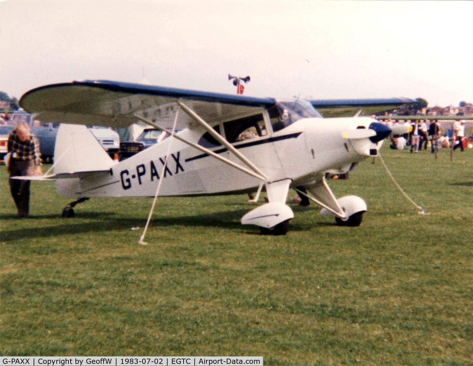 G-PAXX, 1954 Piper PA-20-135 Pacer Pacer C/N 20-1107, PA-20 Pacer 135 G-PAXX attending the 1983 PFA Rally at Cranfield