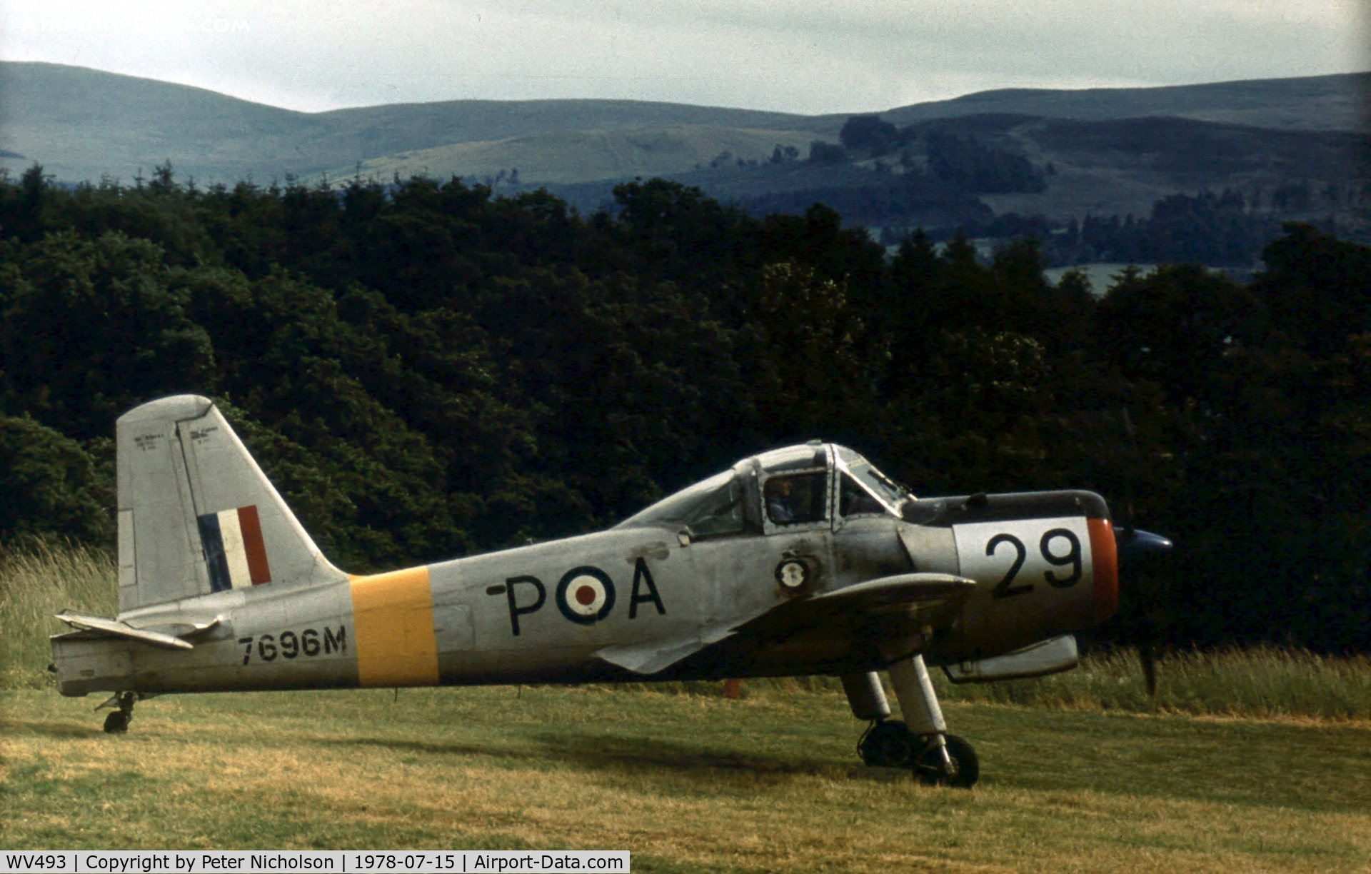 WV493, 1953 Percival P-56 Provost T.1 C/N PAC/56/056, Now in museum storage, this Provost T.1 was active at the 1978 Strathallan Open Day.