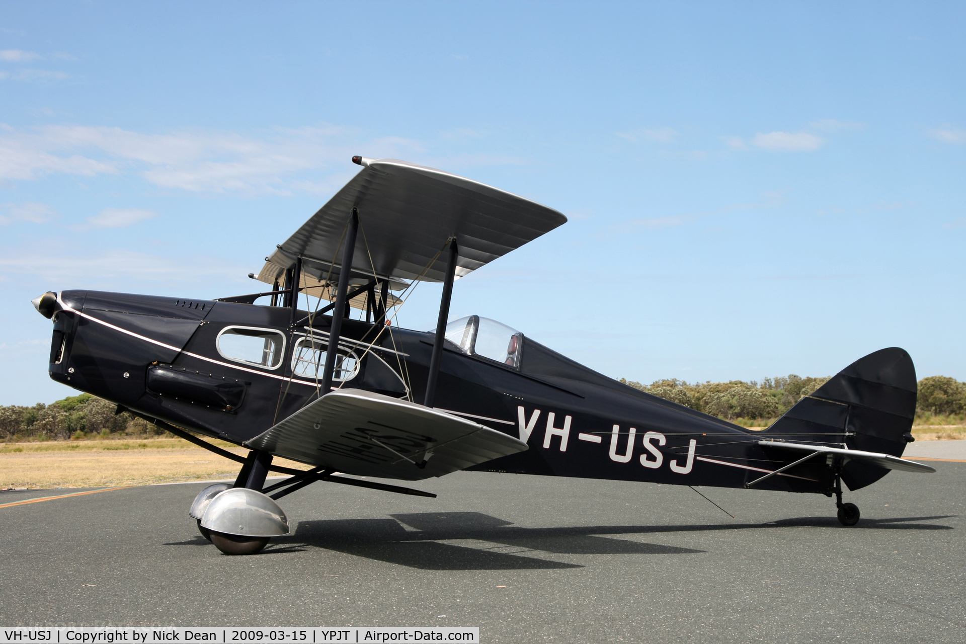 VH-USJ, 1933 De Havilland DH.83 Fox Moth C/N 4058, YPJT (Thanks to the aircraft owner for being kind enough to wait an hour for the sun to come out for me to get this shot)