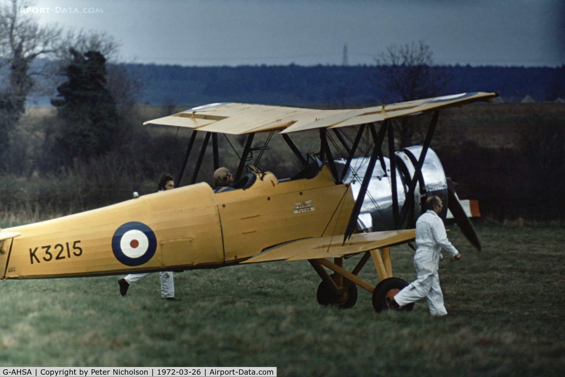 G-AHSA, 1933 Avro 621 Tutor C/N K3215, Avro Tutor as K3215 preparing for take-off at Old Warden in the Spring of 1972.