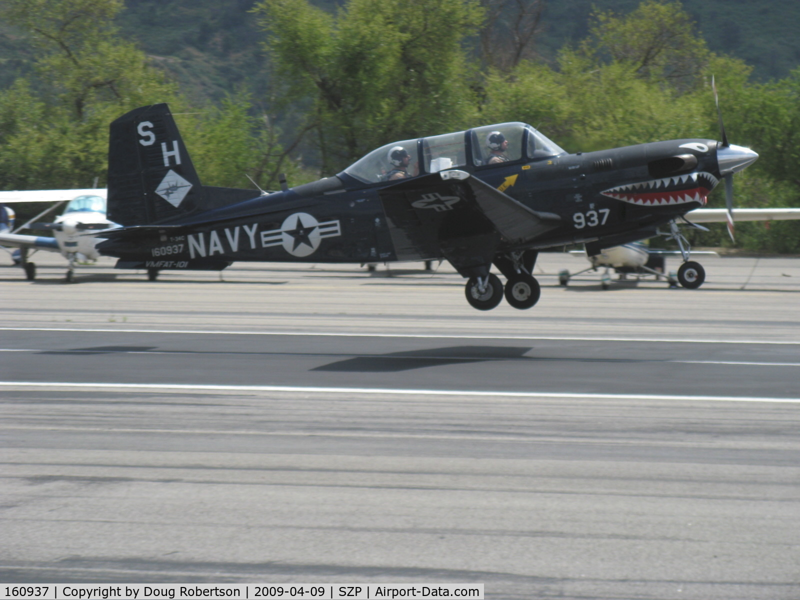 160937, Beech T-34C Turbo Mentor C/N GL-123, Beech T-34C TURBINE MENTOR Sierra Hotel of USMC VMFAT-101, one P&W(C)PT6A-25 400 shp turboprop, Returned to service 1998. Landing Rwy 22.