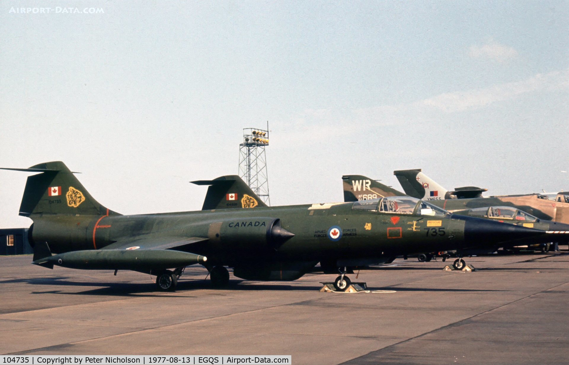 104735, Canadair CF-104 Starfighter C/N 683A-1035, CF-104 Starfighter of 439 Squadron Canadian Armed Forces at the 1977 RAF Lossiemouth Open Day.