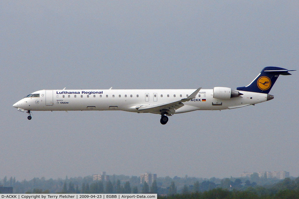 D-ACKK, 2006 Bombardier CRJ-900LR (CL-600-2D24) C/N 15094, Lufthansa CRJ900 about to land at BHX