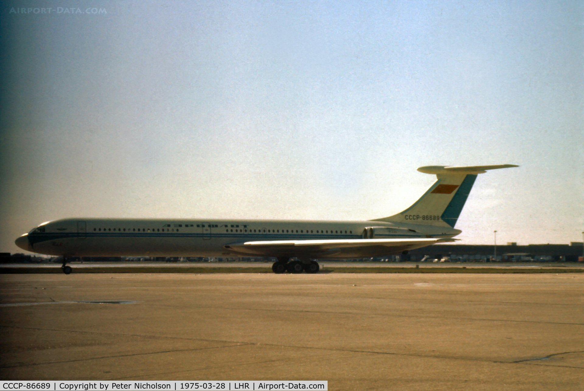 CCCP-86689, 1971 Ilyushin IL-62 C/N 11001, Ilyushin Il-62 Classic of Aeroflot at Heathrow in the Spring of 1975.