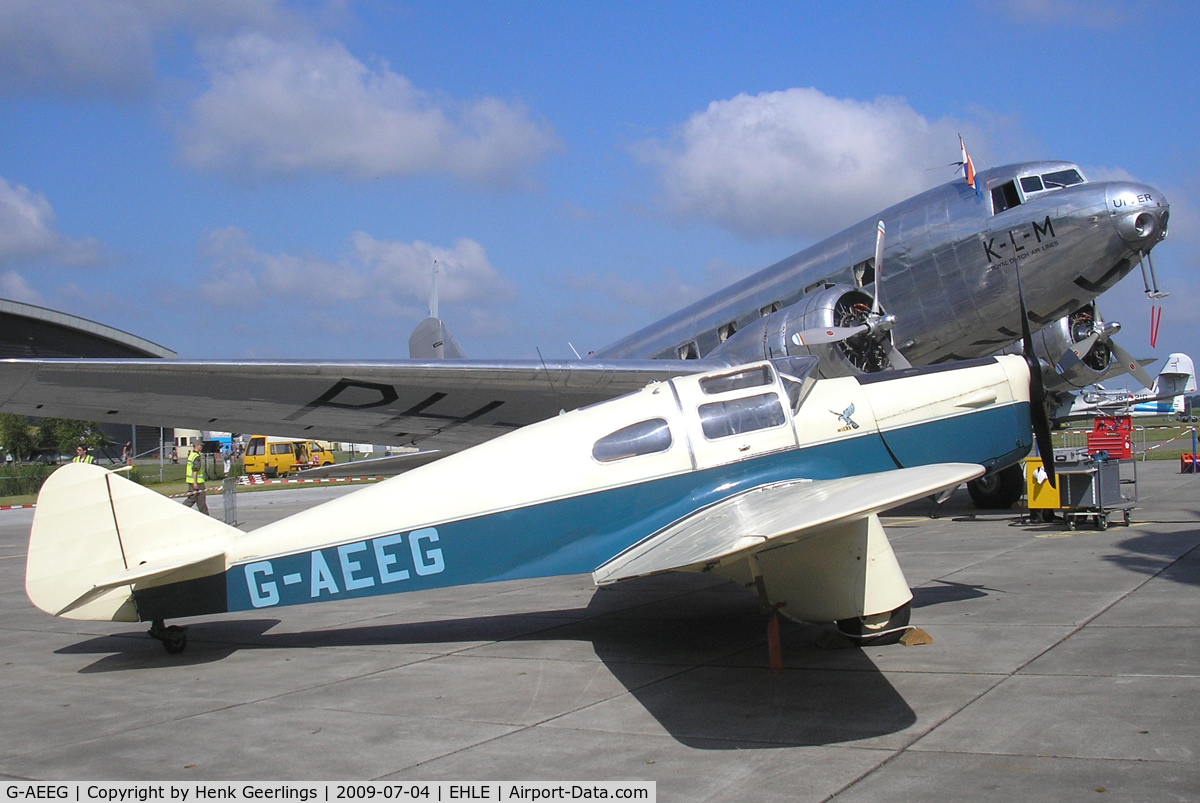G-AEEG, 1936 Miles M-3A Falcon Major C/N 216, Aviodrome Aviation Museum at Lelystad Airport , Melbourne Race Fly In