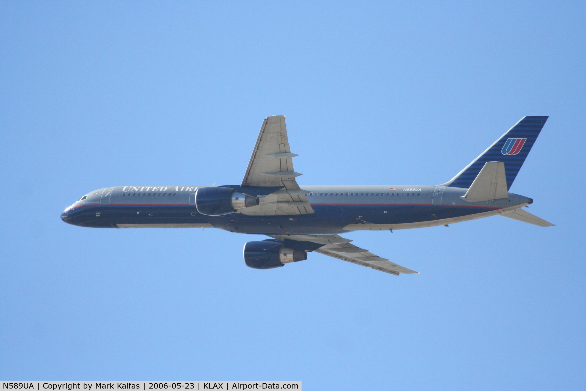 N589UA, 1997 Boeing 757-222 C/N 28707, United Airlines Boeing 757-222, N589UA departs KLAX RWY 25R