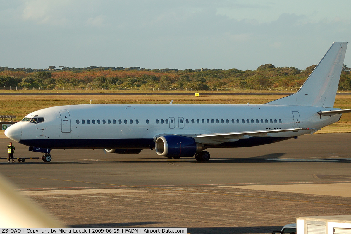 ZS-OAO, 1989 Boeing 737-4S3 C/N 24163, At Durban