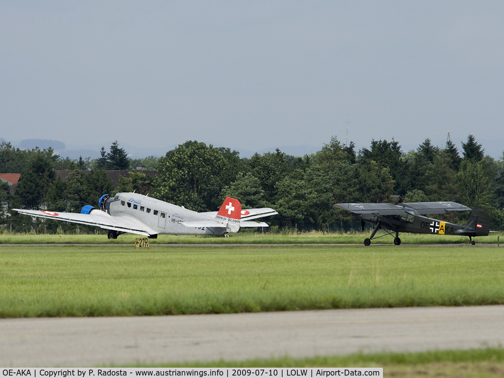 OE-AKA, Fieseler S-14B Storch (Fi-156C-3) C/N 3814, Fieseler Storch and Ju 52 HB-HOT at one picture!