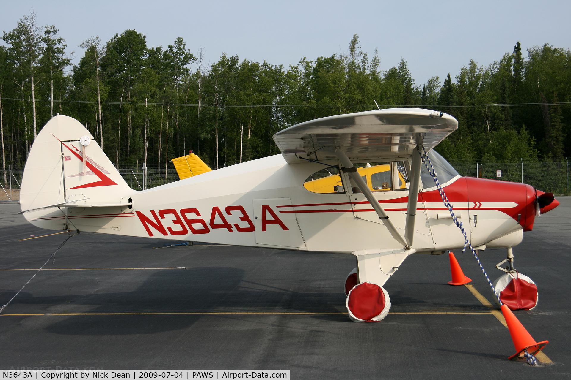 N3643A, 1953 Piper PA-22-135 Tri-Pacer C/N 22-1901, PAWS