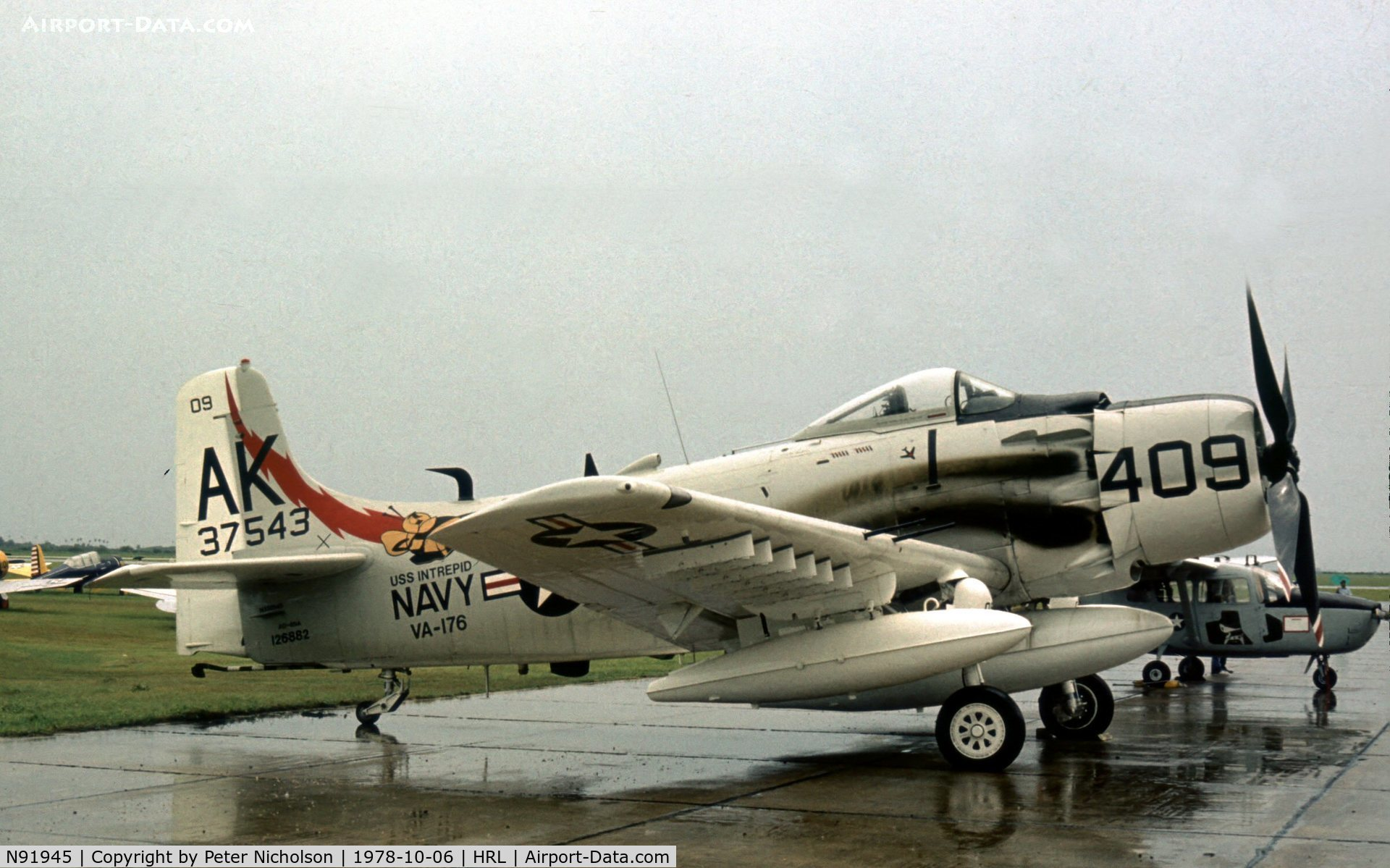 N91945, 1952 Douglas AD4-DW C/N 126882-SF85, Another view of Skyraider 126882 marked as 137583 at Harlingen in 1978.