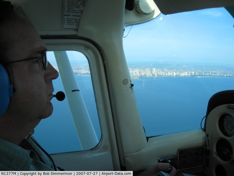 N1377M, 1972 Cessna 172L Skyhawk C/N 17260577, Over Lake Michigan, east of Chicago enroute to Oshkosh.