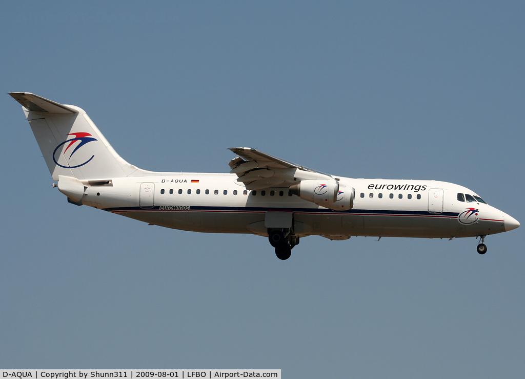 D-AQUA, 1988 British Aerospace BAe.146-300A C/N E3118, Landing rwy 14R