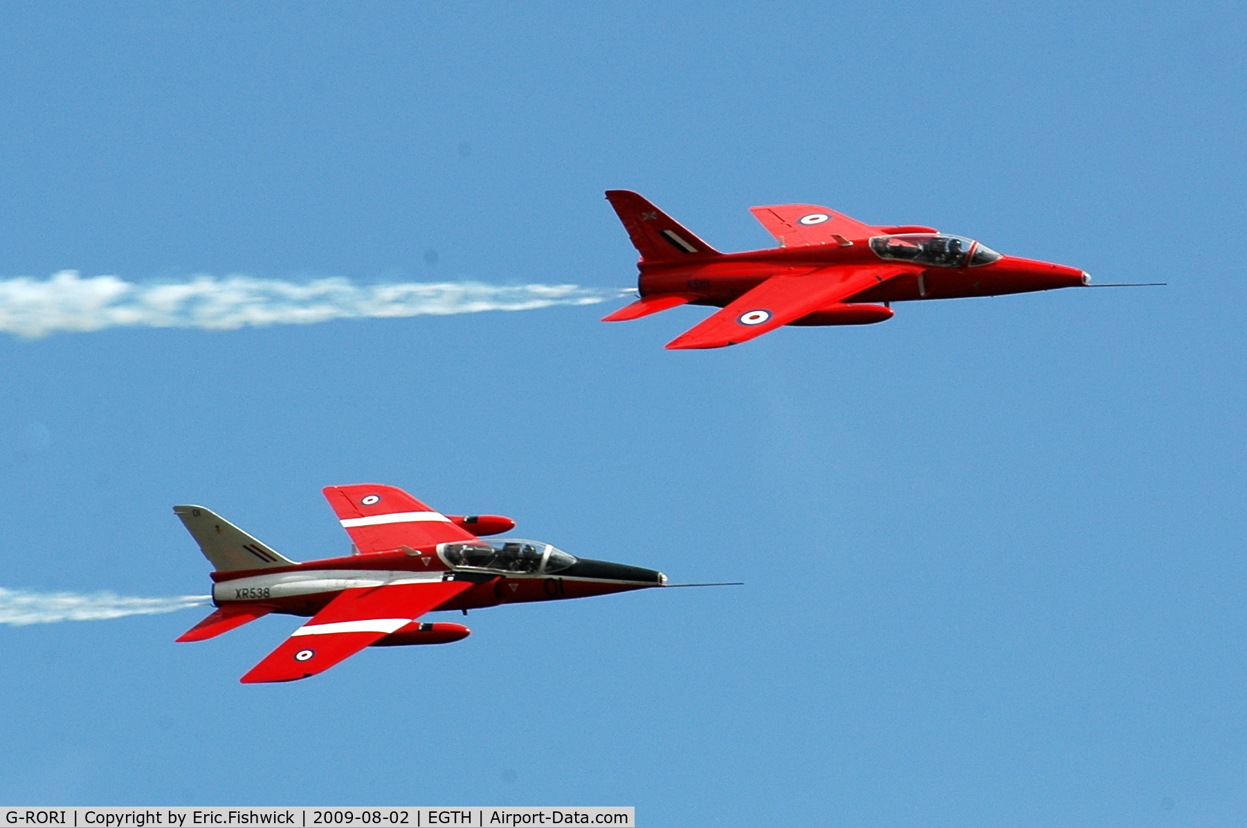 G-RORI, 1963 Hawker Siddeley Gnat T.1 C/N FL549, Two Folland Gnat T1 Trainers at Shuttleworth Military Pagent Air Display  Aug 09