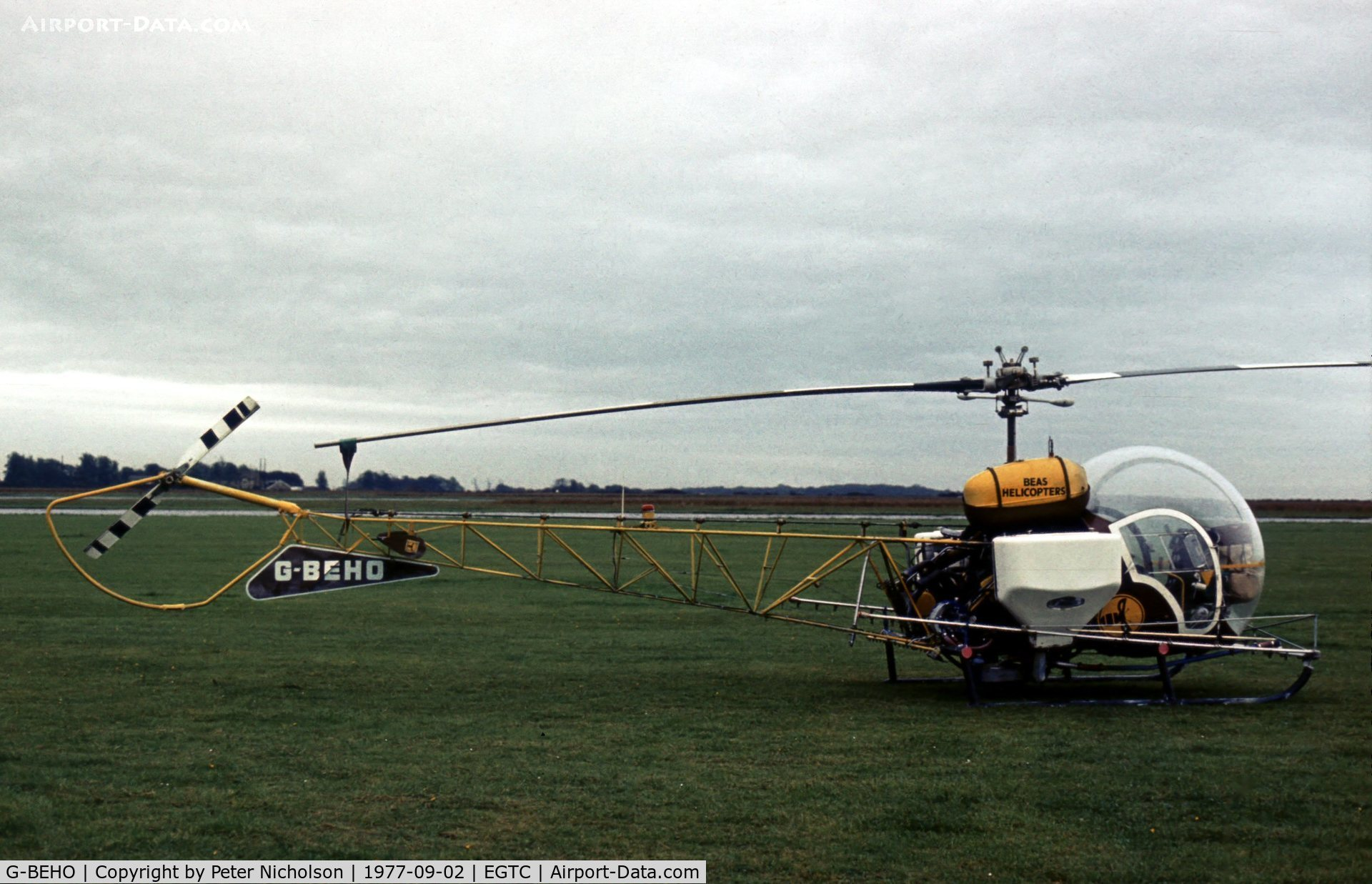 G-BEHO, 1966 Westland Bell 47G-3B-1 C/N 104, This Bell 47G of BEAS Helicopters was present at the 1977 Cranfield Business & Light Aviation Show.