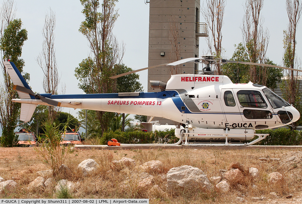 F-GUCA, Eurocopter AS-350B-3 Ecureuil C/N 3558, At the MRS Heliport fire station near the airport...