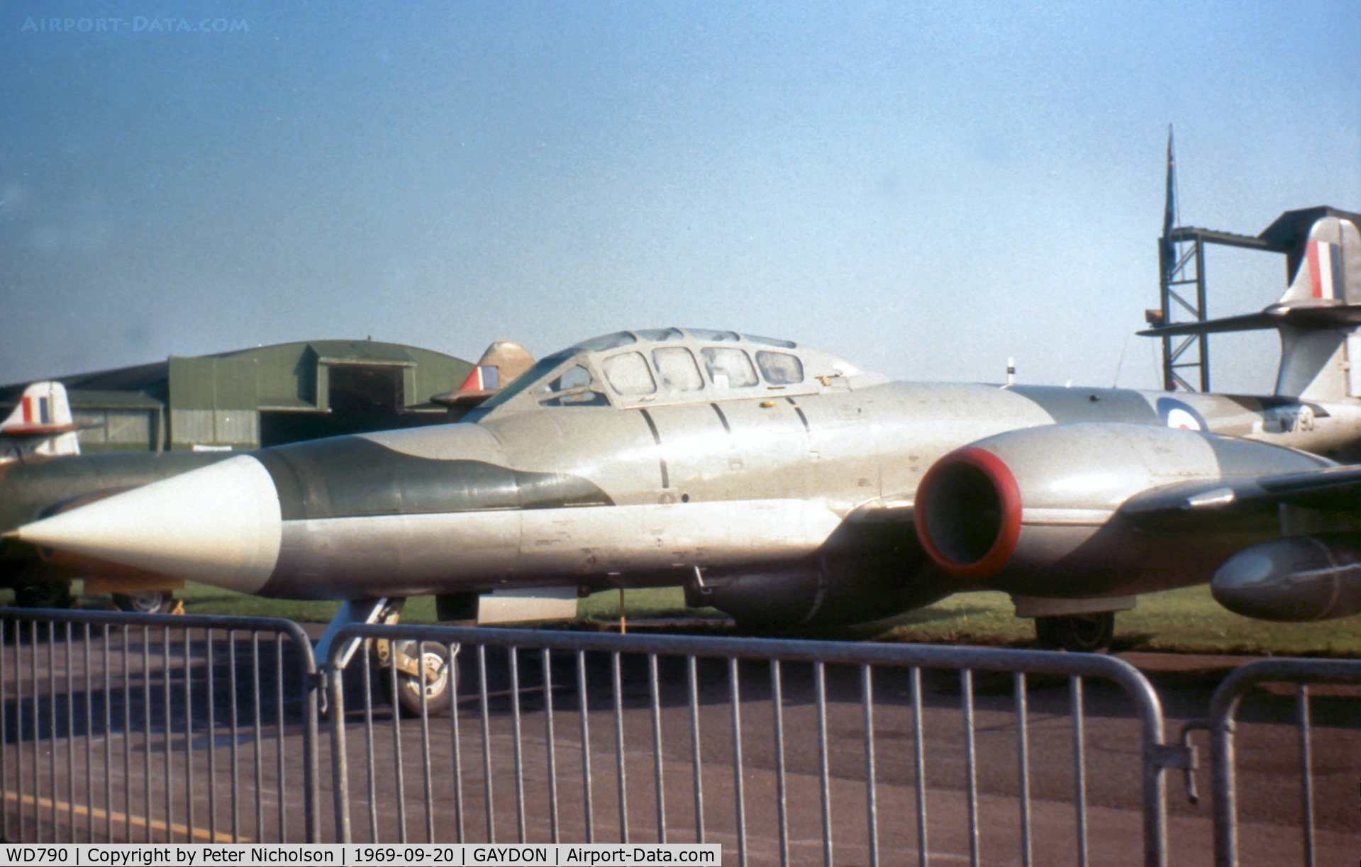 WD790, 1952 Gloster Meteor NF.11 C/N Not found WD790, Meteor NF.11 radar trials aircraft from the Royal Radar Establishment at Pershore on display at the 1969 Battle of Britain Airshow at RAF Gaydon.
