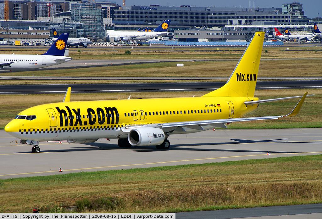 D-AHFS, 2000 Boeing 737-8K5 C/N 28623, Yellow Cab on the way to Rwy 18W