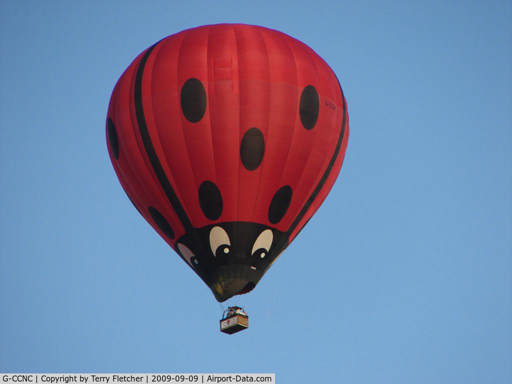 G-CCNC, 2003 Cameron Balloons Z-275 C/N 10504, Ladybird Balloons overflying Belper Derbyshire UK
