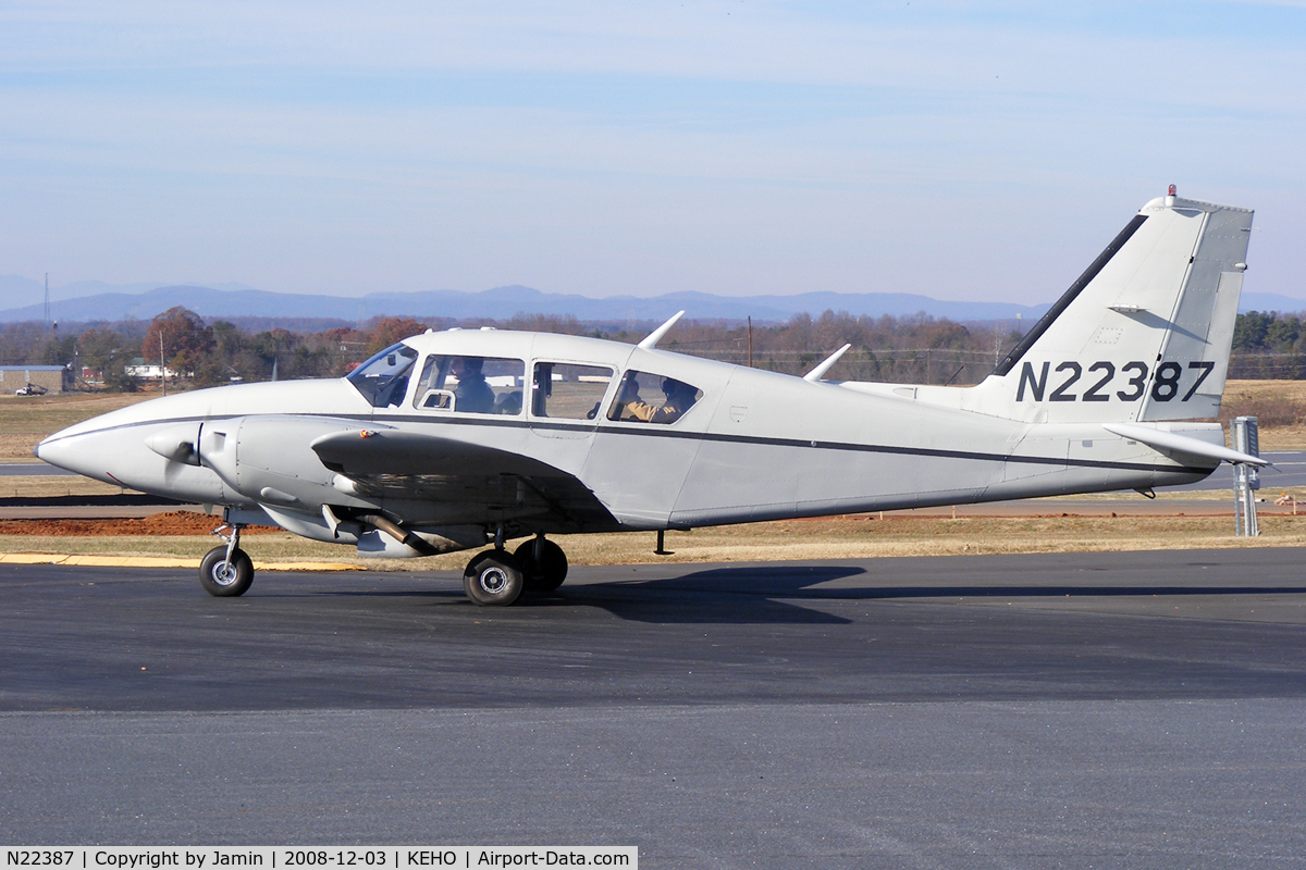 N22387, 1977 Piper PA-23-250 Aztec C/N 27-7754065, Winter brown in the background, along with some construction on the taxiway.