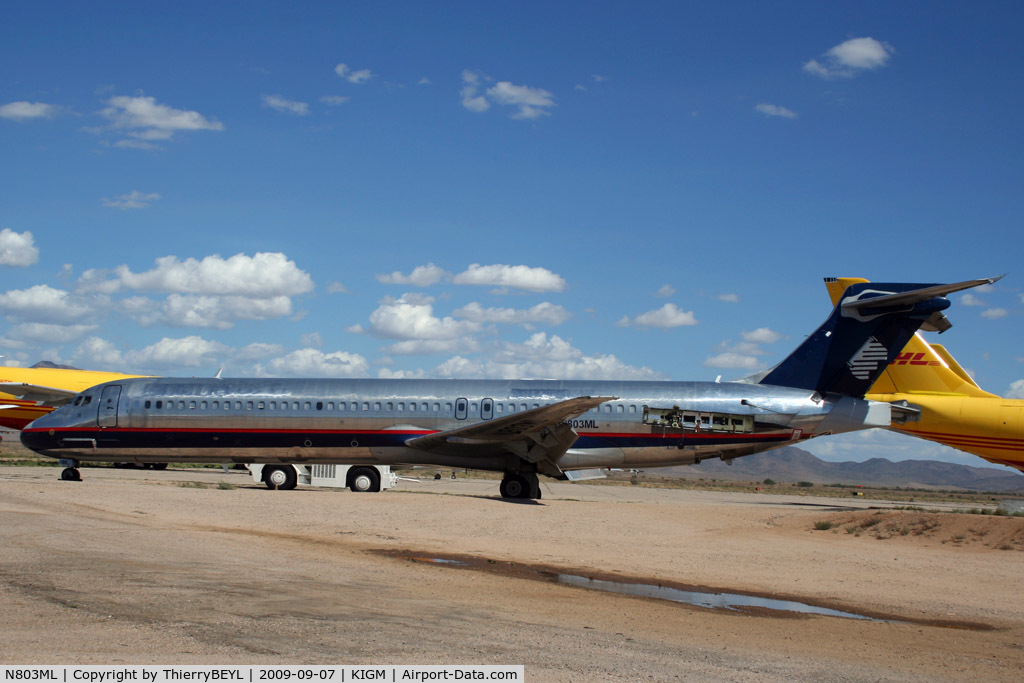 N803ML, 1989 Mcdonnell Douglas DC-9-87 C/N 49726, Stored at Kingman Airport (AR)