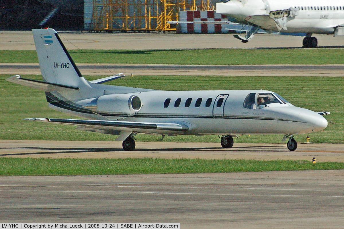 LV-YHC, 1992 Cessna 550 Citation II C/N 550-0717, At Aeroparque (AEP)