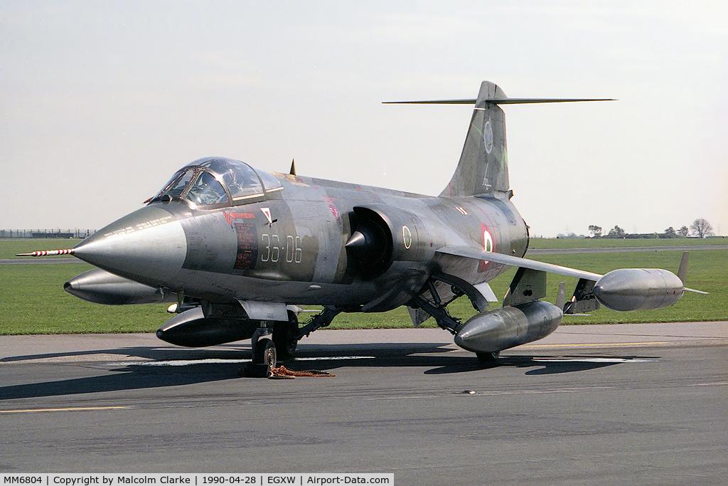 MM6804, Aeritalia F-104S-ASA Starfighter C/N 1104, Aeritalia F-104S-ASA Starfighter from 36 Stormo based at Gioia del Colle and seen here at RAF Waddington's Photocall 1990.