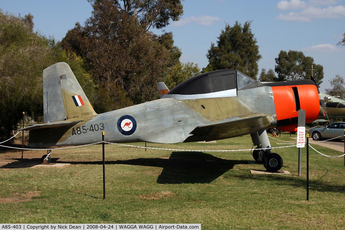 A85-403, Commonwealth CA-25 Winjeel C/N CA25-03, Preserved RAAF Wagga Wagga NSW