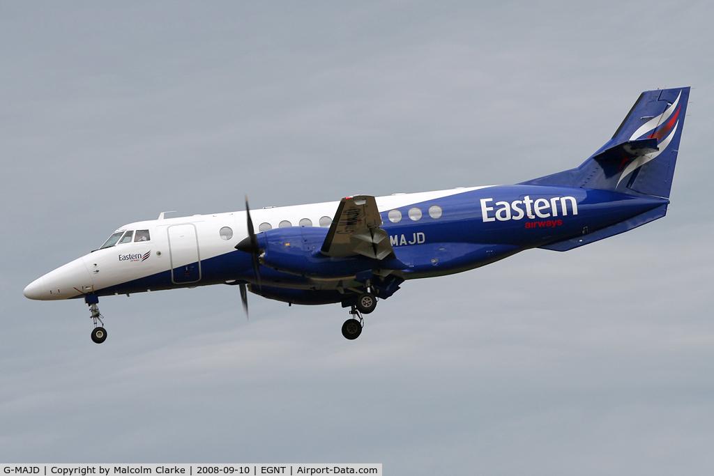 G-MAJD, 1992 British Aerospace Jetstream 41 C/N 41006, British Aerospace Jetstream 4100. On approach to Rwy 25 at Newcastle Airport.