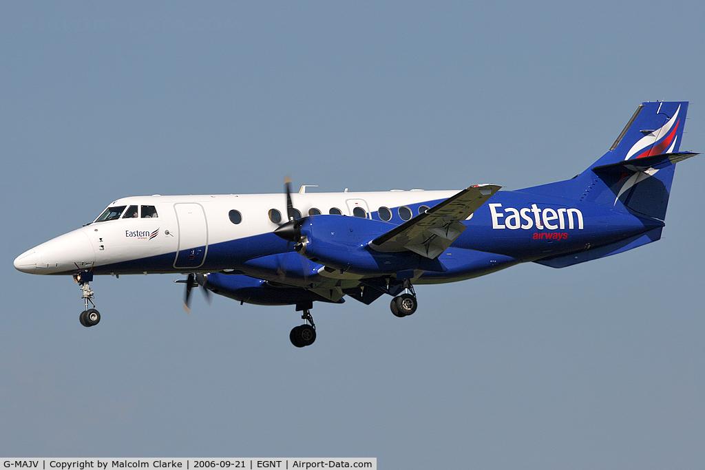G-MAJV, 1995 British Aerospace Jetstream 41 C/N 41074, British Aerospace Jetstream 4102 on approach to Rwy 25 at Newcastle Airport.